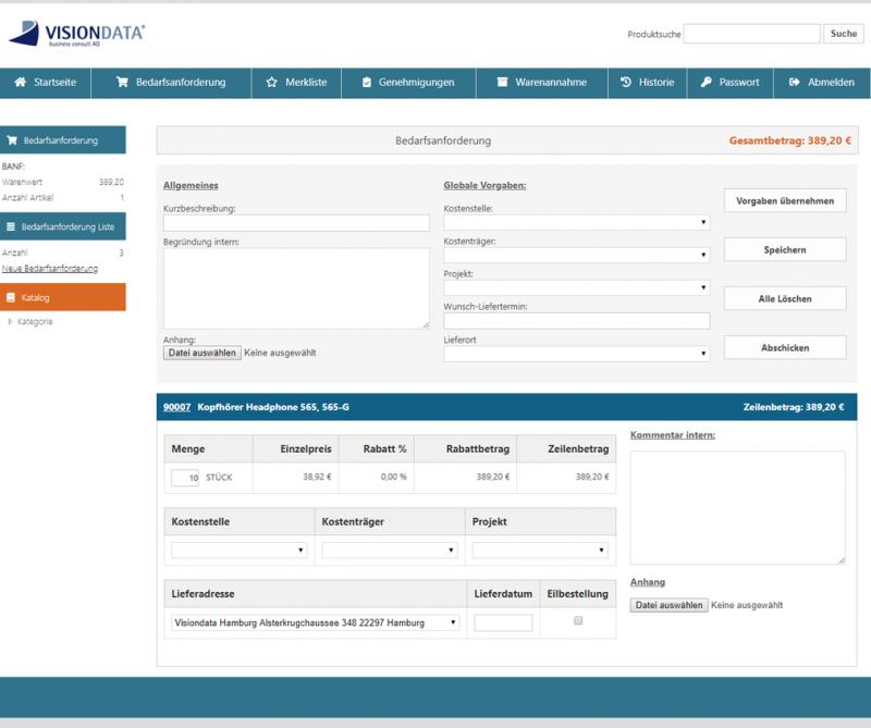 Bedarfsstelle gibt Bestellanforderung (BANF) auf (Webshop)