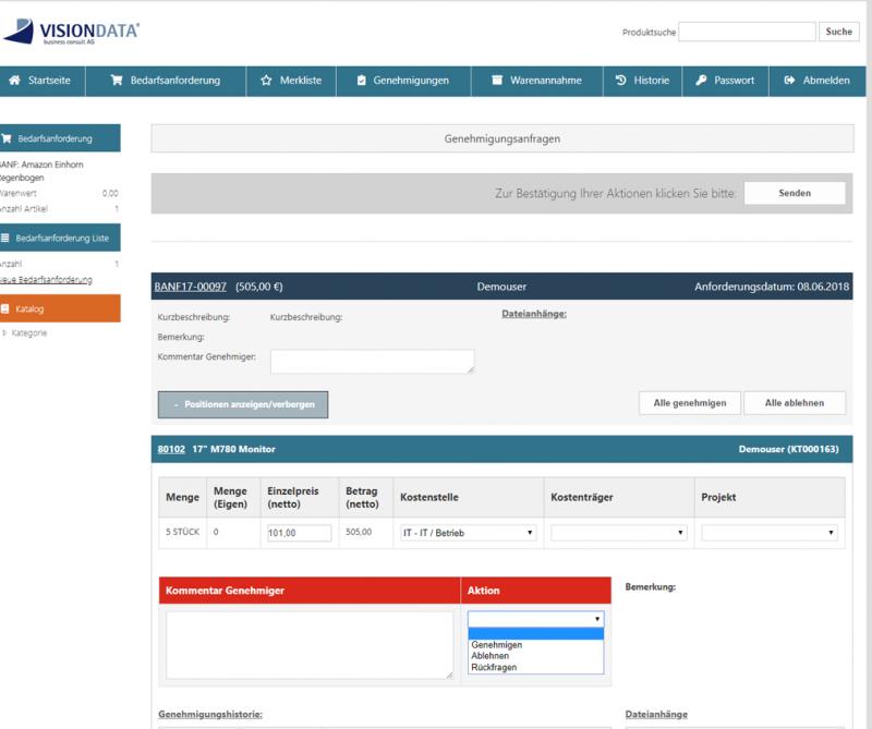 Genehmiger kann Anfragen genehmigen, ablehnen oder eine Rückfrage an die Bedarfsstelle geben (Webshop)