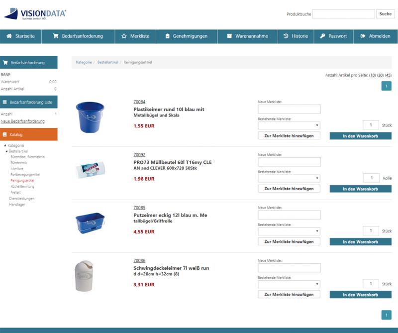 Bedarfsstelle wählt Produkte aus (Webshop)